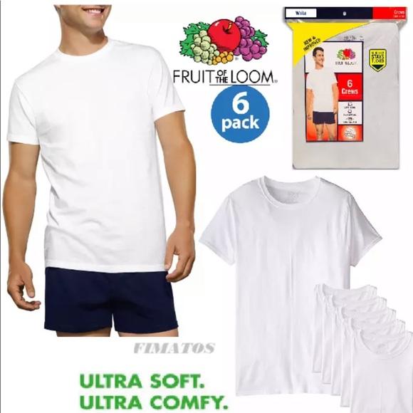 7353e2b31d Fruit of the Loom Underwear & Socks | 6 Pack White Crew Neck Tshirt ...